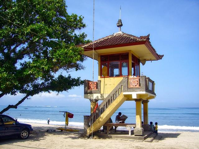 Life guard tower at Kuta beach on Bali, Indonesia