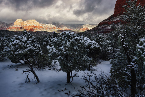 travel winter arizona sky sunlight snow mountains nature weather rock stone pine clouds landscape us glow view unitedstates desert cloudy sedona overcast powder valley redrocks geology climate arid hdr highdynamicrange bristlecone trailhike devilsbridge