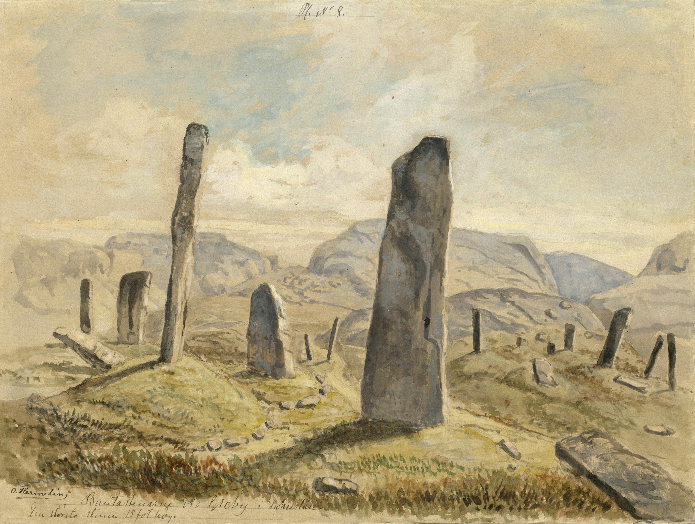 Standing stones, Greby grave field, Tanum, Bohuslän, Sweden