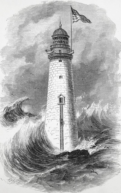 Engraving of Minot's Ledge Lighthouse in Frank Leslie's Popular Monthly (March, 1878)