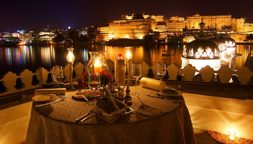 The table is laid out  - at Taj Lake Palace