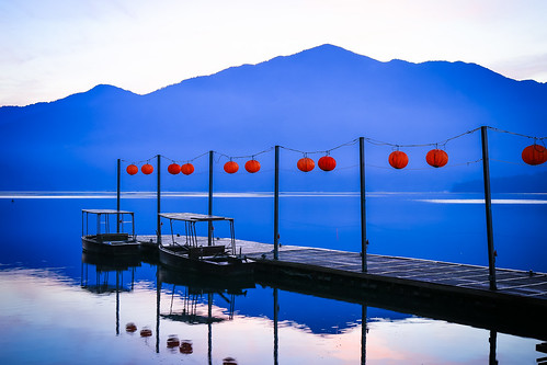 日月潭 碼頭 蔣公碼頭 湖 日出 lake pier boat sunrise dawn reflection sun moom taiwan 南投
