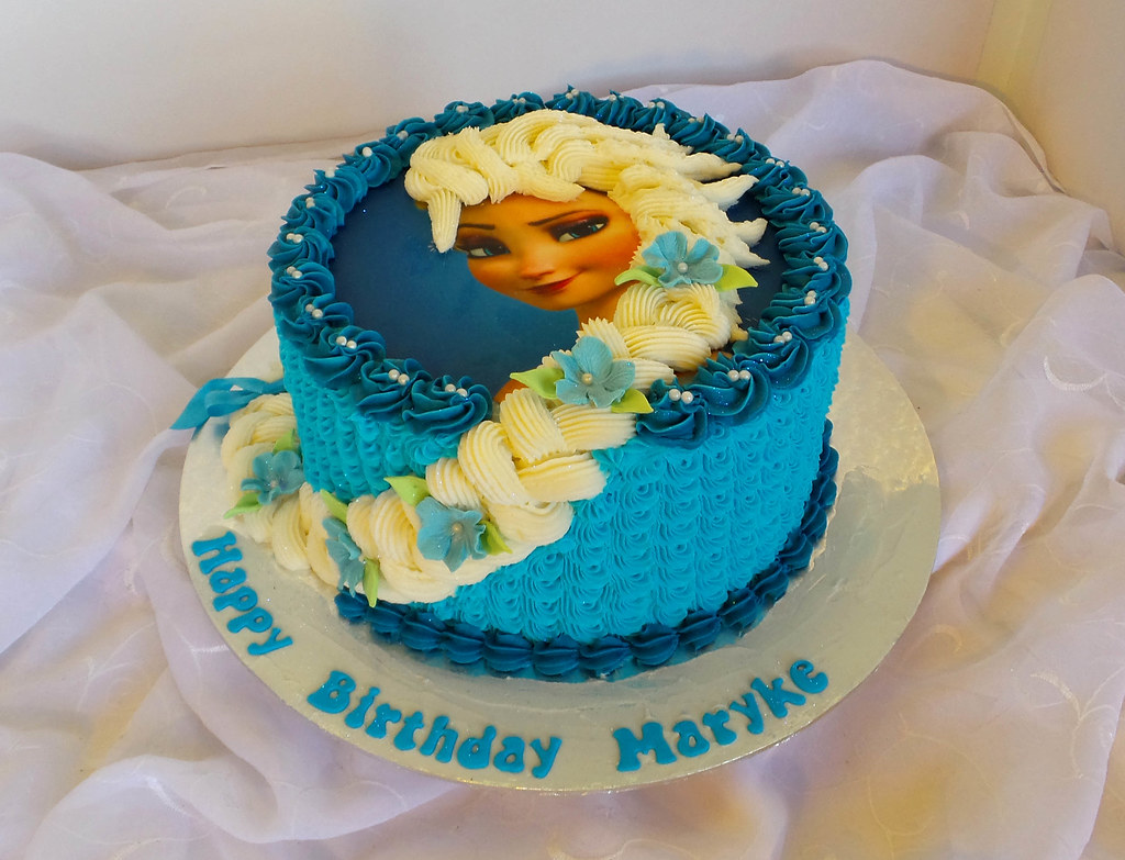 Cool Frozen Elsa Birthday Cake With Edible Print Willi Probst Bakery Funny Birthday Cards Online Overcheapnameinfo