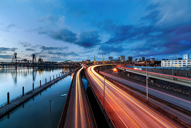 Light Trails Along Willamette River
