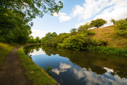 uk blue trees summer england sky green water clouds reflections landscape canal nikon outdoor dudley serene shrubs westmidlands towpath waterways netherton 2015 theblackcountry d7100 nethertoncanal sigma816mmf4556dc