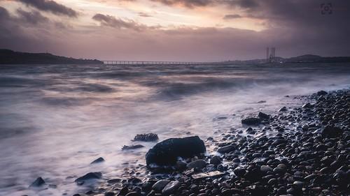 city longexposure bridge sunset sea storm beach water clouds canon landscape scotland rocks waves dundee pebbles tayside leefilters