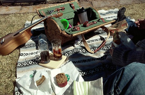 Terra and I had a breakfast picnic :) Food from Starbucks, coffee from home :D #riorancho | by insidious_plots