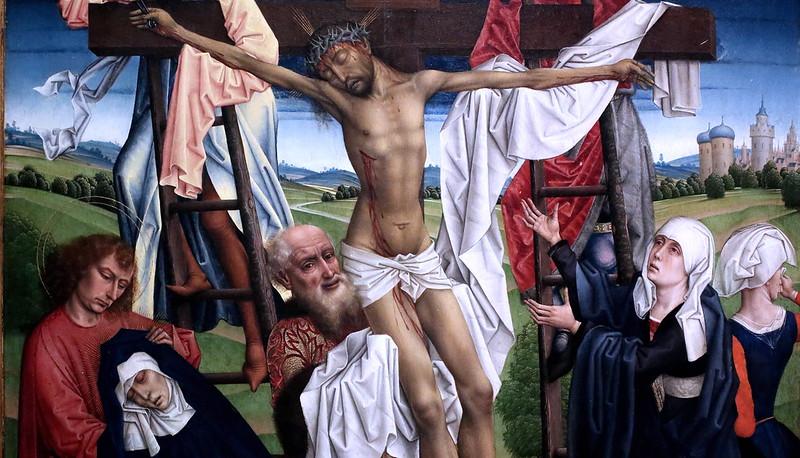 IMG_3322V Maitre de la Légende de Sainte Catherine. Master of the Legend of Saint Catherine. Actif à Bruxelles vers 1460-1500.  Triptyque de la Descente de Croix.  Triptych of the Descent from the Cross. Cologne Wallraf Richartz Museum.
