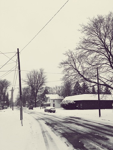 street city snow landscape