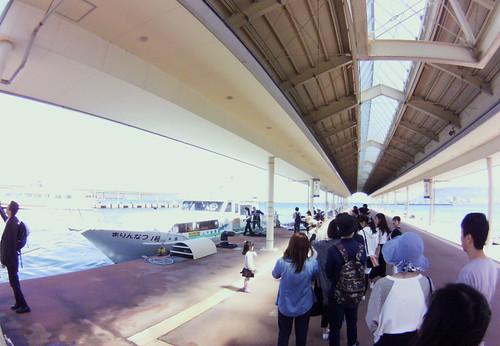 queueing for the island-hopping Setouchi Art Triennale ferry #fisheye