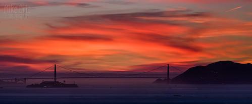 sanfrancisco california sunset clouds sunrise landscape cloudy pano goldengatebridge alcatraz sausalito f300 ggnra ggb mikeoriaphotography