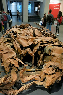 Bagdad, 5 March 2007 by  Jeremy Deller. Wreckage of a civilian car blown up in the bombing of a book market in Baghdad in Iraq, which killed 38 people.