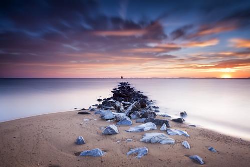 longexposure beach clouds sunrise landscape dawn golden jetty maryland chesapeakebay waterscape hss neutraldensity leefilters singhrayfilters sliderssunday