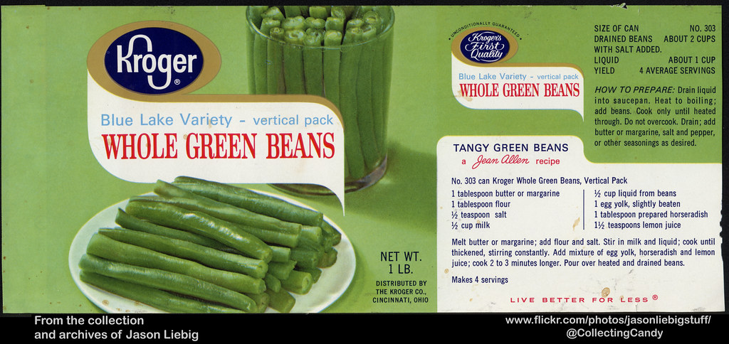 Kroger - Whole Green Beans - Blue Lake Variety - 1 lb can
