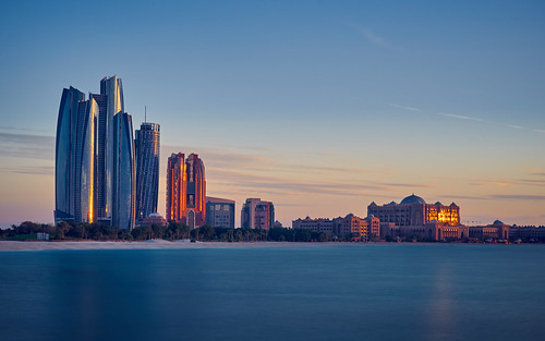 ocean longexposure travel light sunset sky building tower water skyline architecture skyscraper hotel uae sean abudhabi travelphotography