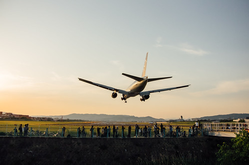 着陸する飛行機、撮る人、迎える飛行場