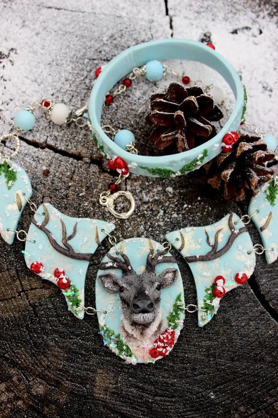Polymer Clay Christmas Jewelry.Christmas Jewelry Set Handmade Jewelry Choker Necklace De