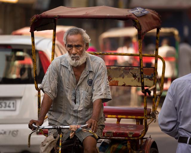 Cycle-rickshaw driver in Old Delhi