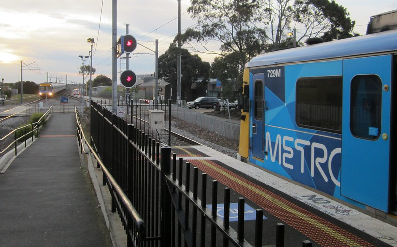 Outbound train waits for inbound train at Westona on the Altona Loop