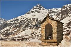 Boží muka v Bonnevalu pod vrcholem Pointe de Méan-Martin 3300 m n./m