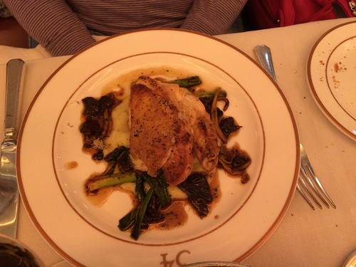 Char grilled corn fed chicken, truffle mash, chanterelles and leeks at 34 Grosvenor Place, South Audley Street, London