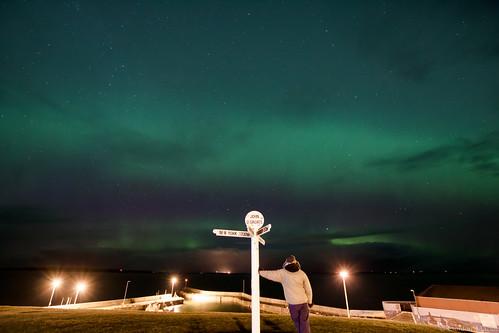aurora northernlights caithness johnogroats signpost scotland selfie northcoast500 nc500
