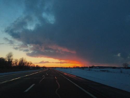 road sunset ohio snow landscape highway