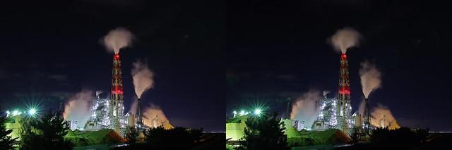 Night view of Nippon Papar Iwanuma Mill, stereo parallel view
