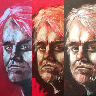 I'm working on this portrait of Philip Seymour Hoffman. It's a long process of shuffling around facial features until he starts to come into view. Not quite there yet. | by rbanks