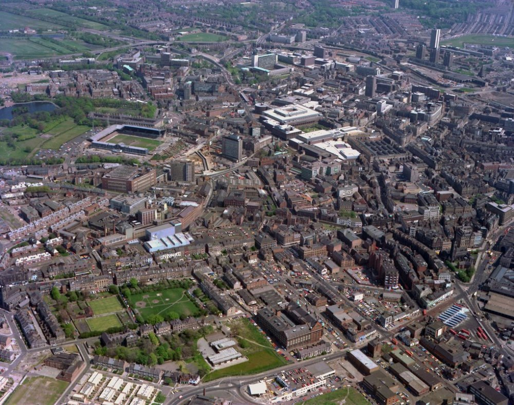 Aerial view of Newcastle City Centre, 1977