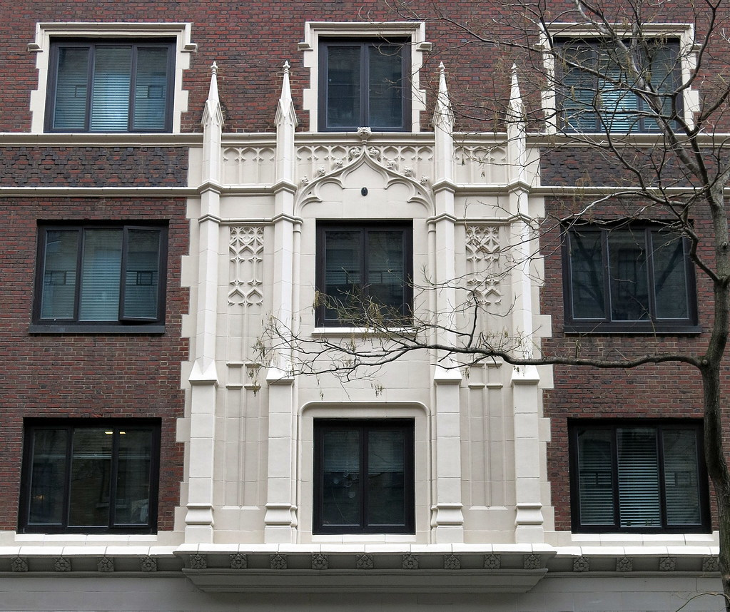 Neo-Gothic window frame (1929), East 10th Street, Greenwich Village, New York City
