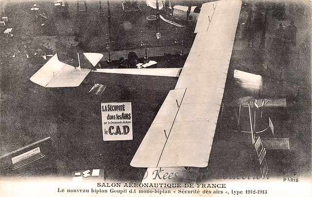 The Goupy 3-place hydro biplane on the fourth Exposition internationale de locomotion aérienne in the Grand Palais at Paris [France, 1912]