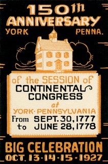 Continental Congress Session at York, Pa., 150th Anniversary Celebration, Poster Stamp, 1927