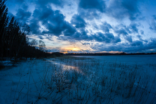 blue sunset sky cloud sun lake ice espoo finland landscape prime spring sundown fisheye 15mm järvi jää auringonlasku aurinko pilvi uusimaa kevät taivas pitkäjärvi laaksolahti