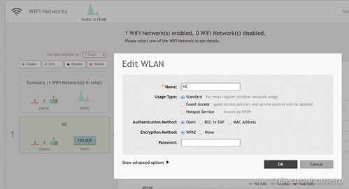 WLAN configuration screen