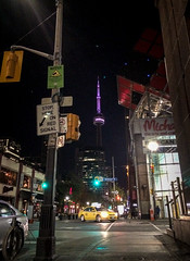CN Tower from everywhere in the city at night
