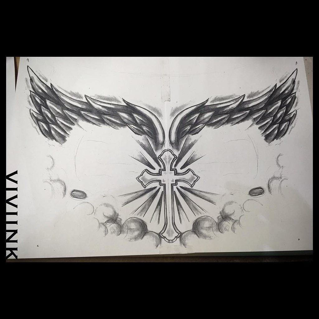 Sketch Done To Fill Out A Chest Piece With Existing Tattoo