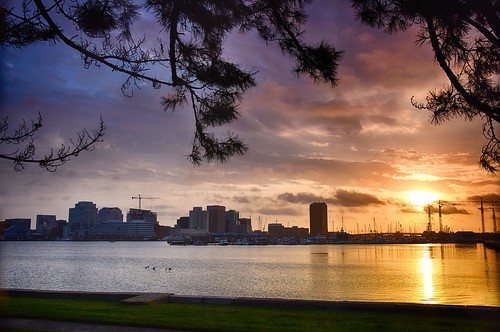 morning beautiful sunrise river cityscape waterfront norfolk virgina