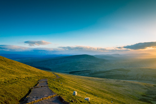 uk blue light sky sun mountain lake cold beautiful wales clouds landscape warm view horizon brecon penyfan ericgoncalves