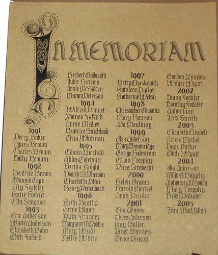 In Memoriam Panel