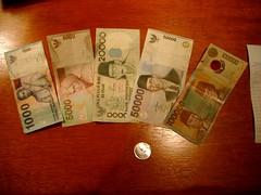 鈔票面額有夠大的印尼盾(IDR)