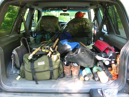 Car full o' fly fishing gear