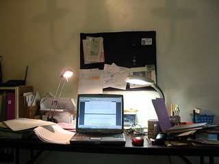my desk at home while i am writing dissertation | by .snow