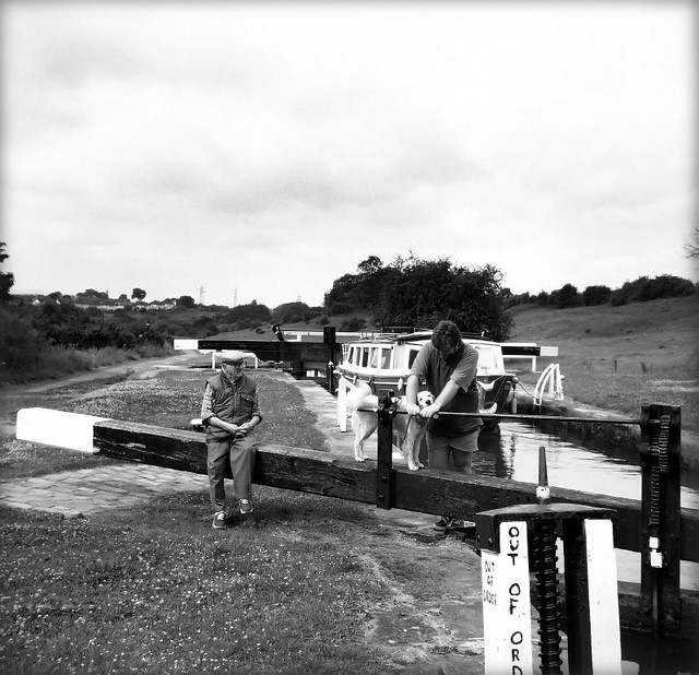 Messing about on the water with dad and the dog_Colne