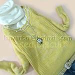 淡黄色羊兔毛混合领口钉可爱珠珠衫衫...