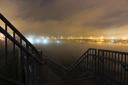city water weather fog wall night stairs river landscape manchester fire photography lights james virginia long exposure cityscape foggy richmond historic will va railings rva fw floodwall fireatwillphotography