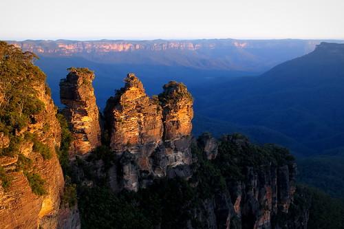 sunset cliff landscape evening scenery rocks sydney australia bluemountains threesisters katoomba peterch51