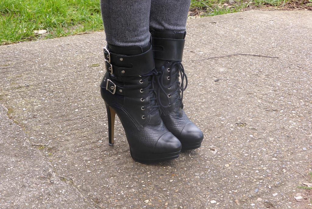 new styles factory outlets uk cheap sale River Island Black Snakeskin Platform Stiletto Ankle Boots ...