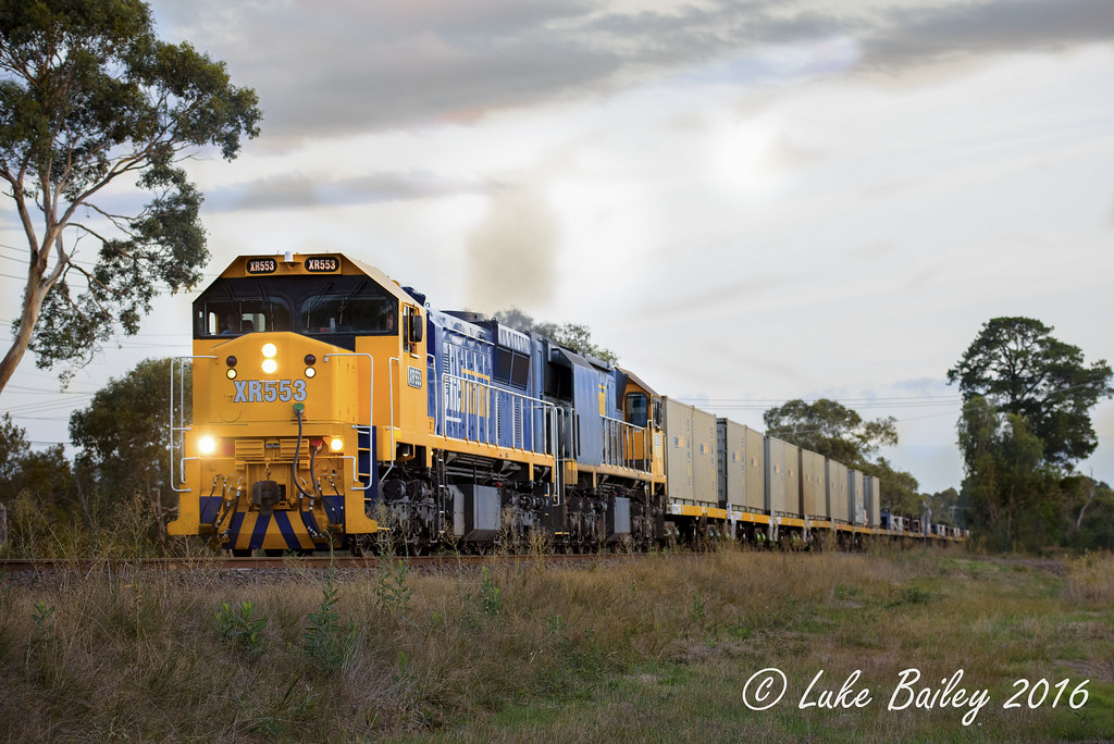 XR553-XR559 with #9556 up Long Island goods near Tyabb by Luke's Rail Gallery