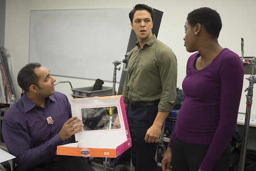 Tue, 2015-11-17 19:02 - The actors (Aseem Agrawal, Ariel Zuckerman, and Tasia Jones) discover the absence of donuts.